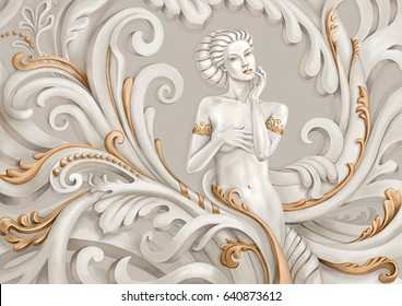 Fantasy illustration of a beautiful young woman.Stylization for sculpture with gold ornaments.