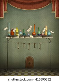 Fantasy illustration with  bottles on table and keys  to small door