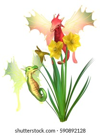 Fantasy illustration of cute red and green Welsh dragons and yellow daffodils for St David's Day (patron saint of Wales, Welsh national day on 1st March), digital illustration (3d rendering)