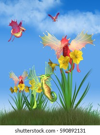 Fantasy illustration of cute red and green Welsh dragons with yellow daffodils on a sunny St David's Day (patron saint of Wales, Welsh national day 1st March) digital illustration (3d rendering)