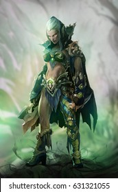 Fantasy illustration of dark elf beautiful woman warrior wearing green hood and an axe as a weapon