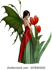Fantasy illustration of a dark haired fairy standing by red tulips, digital illustration (3d rendering)