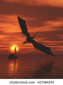 Fantasy illustration of a dragon flying low over a calm ocean at sunset, digital illustration (3d rendering)