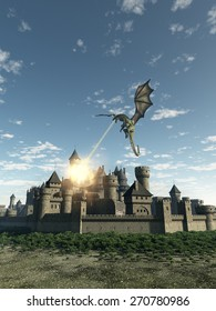 Fantasy illustration of a dragon making a fiery attack on a Medieval walled city, 3d digitally rendered illustration