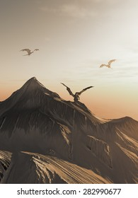 Fantasy illustration of dragons flying around a snowy mountain peak at sunset, 3d digitally rendered illustration