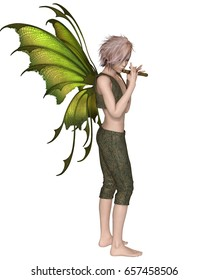 Fantasy illustration of a Fairy Boy with green wings playing a wooden flute, digital illustration (3d rendering)