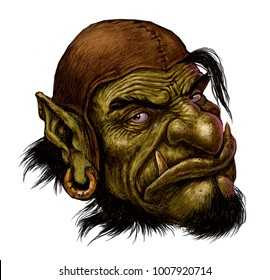Fantasy illustration of a fairy forest character. Troll Goblin Orc warrior with gold earring and beard.