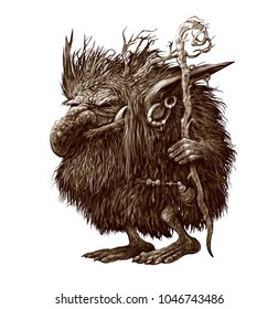 Fantasy illustration of a fairy forest character. Troll Goblin in the skin with long hair, horns and a magic staff in his hands. Isolated illustration on white background