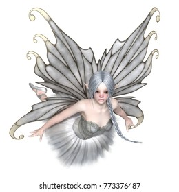 Fantasy illustration of a flying Ballerina Winter Fairy with silver wings and a white tutu, digital illustration (3d rendering)