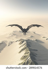 Fantasy illustration of a grey dragon flying over a snow covered mountain range, 3d digitally rendered illustration