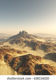 Fantasy illustration of an isolated city on a hilltop in an empty rocky desert, digital illustration (3d rendering)