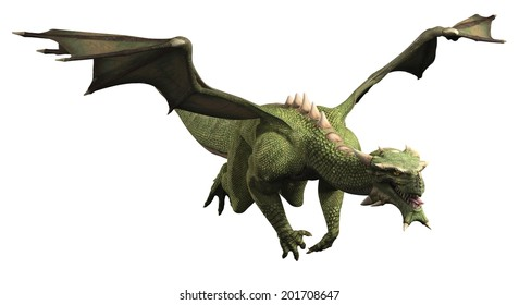 Fantasy illustration of a large green dragon in flight, 3d digitally rendered illustration