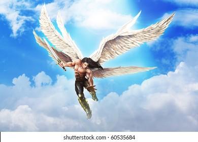 Fantasy illustration of Michael the Archangel