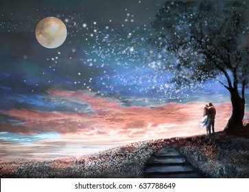 Fantasy illustration with night sky and Milky Way, stars moon. woman and man under an tree looking at the space landscape. floral meadow and stairs.  Painting.