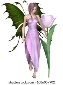 Fantasy illustration of a pink haired tulip fairy standing by a flower, digital illustration (3d rendering)