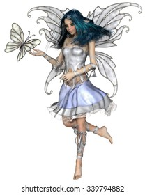 Fantasy illustration of a pretty blue haired fairy with winter snowflakes and white butterfly, 3d digitally rendered illustration