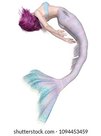 Fantasy illustration of a pretty purple haired mermaid with pink and blue fish scales swimming upside down, digital illustration (3d rendering)