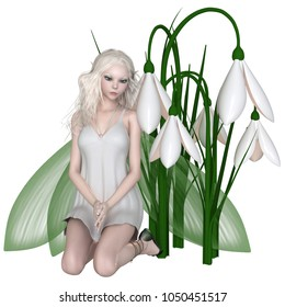 Fantasy illustration of a pretty white haired fairy kneeling with a group of snowdrop flowers, digital illustration (3d rendering)