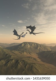 Fantasy illustration of two friendly dragon companions flying together over a mountain landscape, 3d digitally rendered illustration, 3d rendering