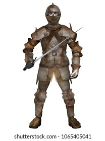 Fantasy illustration of an undead zombie death knight with rusting armour and sword, digital illustration (3d rendering)