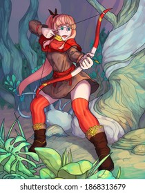 Fantasy illustration of a woman with arch in a forest.
