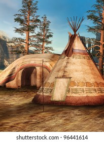 Fantasy Indian camp in the mountains