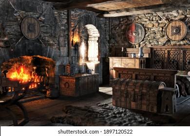 Fantasy-Interieur eines mittelalterlichen Schlafzimmers mit traditioneller Dekoration und einem gemütlichen Kamin . 3D-Rendering