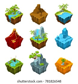 Fantasy isometric islands with vulcans, different plants and rivers. Interface elements in cartoon style. computer games. Platform with plant and mountain, water and vulcan illustration