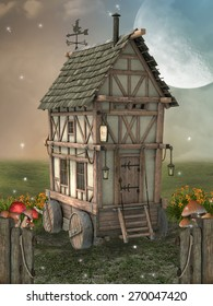Fantasy landscape with fairy house in the garden