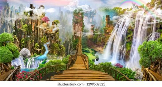 Fantasy landscape. fairyland, digital fresco