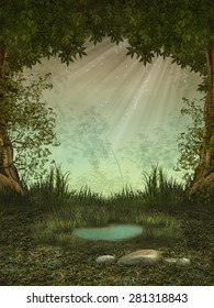 Fantasy landscape in the forest with a pond