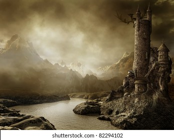 Fantasy landscape with a tower by the river and a dragon