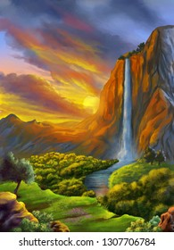Fantasy landscape with waterfall at sunset. Digital painting.