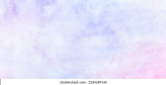 Fantasy light blue, pink and purple shades watercolor background. Aquarelle paint paper textured canvas for text design, greeting card, template. Multicolor gradient hand drawn illustration