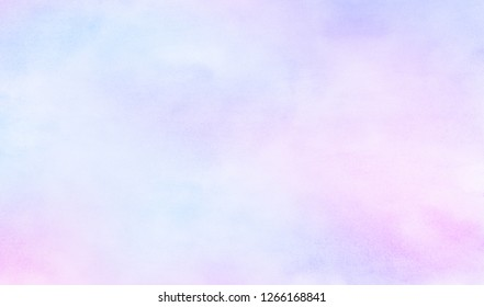 Fantasy light blue, purple and pink shades watercolor background. Aquarelle paint paper textured canvas for design, greeting card, template. Multicolor gradient handmade illustration