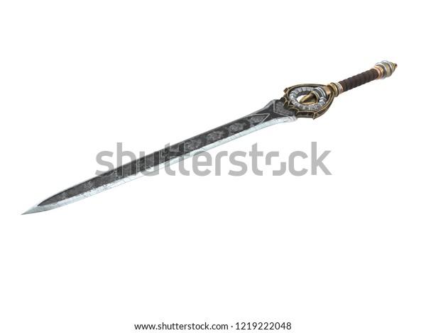 Fantasy Long Sword Patterns Leather On Stock Illustration