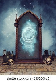 Fantasy magic mirror with skulls, bottles, and alchemical potions. 3D illustration.