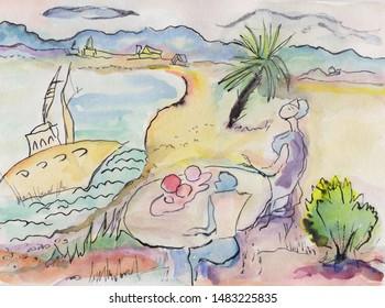 fantasy marine landscape people resting on beach