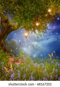 Fantasy meadow with a fairy tree and lamps