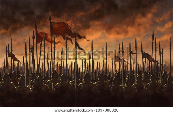 Fantasy medieval battle - digital illustration