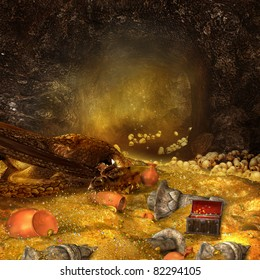 Fantasy mountain cave with a heap of gold and sleeping dragon