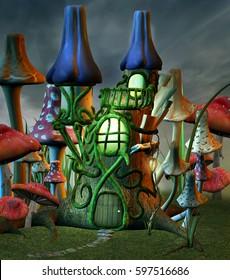 Fantasy mushroom castle - 3D illustration