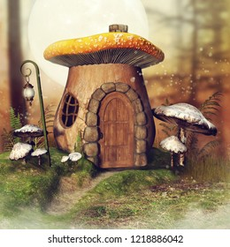 Fantasy mushroom cottage and a lantern in an autumnal forest with fern and grass. 3D illustration.