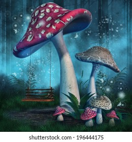 Fantasy mushrooms with a fairy swing in enchanted forest
