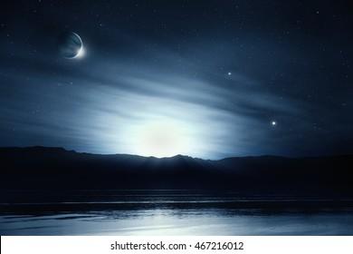 Fantasy night sky lake reflection dreamy landscape - 3D illustration