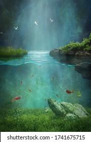 Fantasy nocturnal landscape and underwater life. Photomanipulation. Illustration. 3D