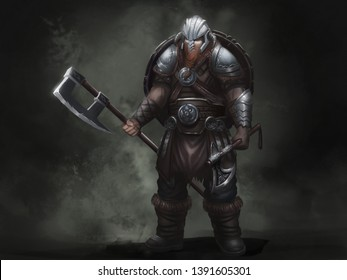Fantasy Norse Viking. Warrior Character Design. Realistic Illustration. Video Game Digital CG Artwork.