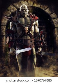 Fantasy orc standing with two swords in front of a stone castle gate. 3D illustration.
