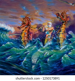Fantasy painting of the god Neptune crashing through ocean waves on a sled being pulled by giant seahorses and a dolphin