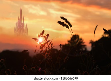 fantasy palace at sunset